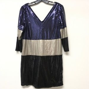 Party Mini Dress Mod Sequined Tunic V-neck M